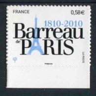 """TIMBRE** De 2010 Autoadhésif En Bord De Feuille """"0,58 € - BARREAU DE PARIS"""" - Autoadesivi"""