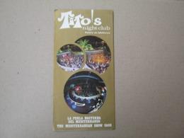 Palma De Mallorca / Tito's Night Club / Spain Night Club ( Brochure Prospect ) - Tourism Brochures