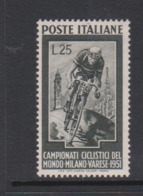 Italy Republic S 669 1951 World Bicycle Championship, Mint Hinged - 6. 1946-.. Republic