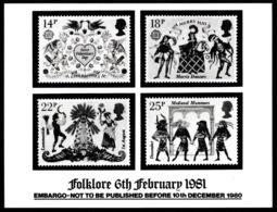 GREAT BRITAIN 1981 EUROPA/Folklore: STAMP PRESS RELEASE - Cartas