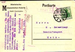 Allemagne Poste Obl Yv: 83 Mi:85I Germania Deutsche Reich (TB Cachet Rond) Carte Kehl 30-7-15 - Covers & Documents