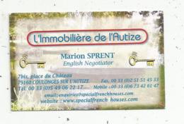 Carte De Visite, L'IMMOBILIERE DE L'AUTIZE ,Marion Sprent , 79, COLONGES SUR L'AUTIZE - Visiting Cards