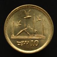 Pakistan 10 Rupees. Km77 Faisal Mosque - With Doves Coin UNC - Pakistan