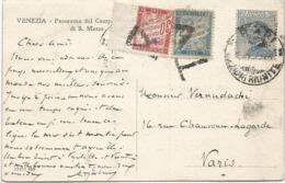 TAXE 30C BDF +5C BLEU TRIANGLE DE PARIS CARTE ITALIE 25C BARI - Storia Postale