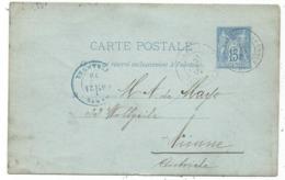 ENTIER SAGE 15C BLEU CP PARIS  1878 POUR AUTRICHE + PARIS ETRANGER EN BLEU - Postmark Collection (Covers)