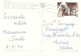 1998 £800 MADRE TERESA SU CARTOLINA OSPEDALETTI - Mother Teresa