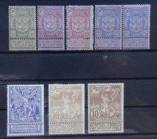 BELGIE  1894    Nr. 68 - 70  /  71 - 73      Scharnier * - 1894-1896 Expositions