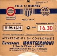 Thematiques Disque De Controle Stationnement Rennes Publicité Entreprise Montgermont - Historical Documents