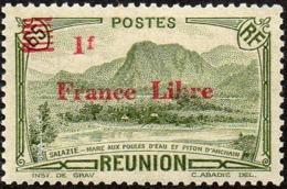 Réunion N° 206 ** Vue -> Salazie, Mare Aux Poules D'eau Et Piton D'Auchain - 1f Sur 65c Vert, Surchargé France Libre - Réunion (1852-1975)