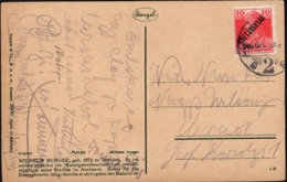 Romania - Marga, Wilhelm Hunger. 10 F. Karl, Mi.236 Overprinted KÖZTÁRSASÁG (REPUBLIC) Stamp Arad 29.12.1918. - Transylvanie
