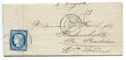 N°60 BLEU CERES SUR LETTRE MONTDIDIER SOMME POUR DORGEVILLE  / 1876 - Marcophilie (Lettres)