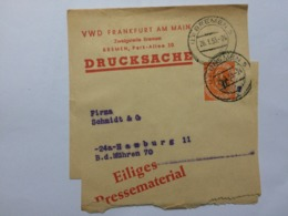 GERMANY 1953 Newspaper Wrapper Bremen To Hamburg - `Eiliges Pressematerial` - Lettres & Documents