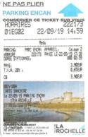 Ticket De Parking - Encan La Rochelle - 2019-09-21 - Ill. : Entrée Du Vieux-Port (tour De La Chaîne, Tour Saint-Nicolas) - Billetes De Transporte