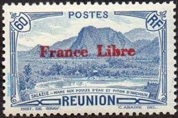 Réunion N° 197 ** Vue - Salazie, Mare Aux Poules D'eau Et Piton D'Auchain - 60c C Bleu - Surchargé France Libre - Réunion (1852-1975)