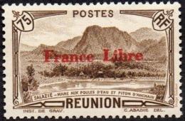 Réunion N° 200 ** Vue - Salazie, Mare Aux Poules D'eau Et Piton D'Auchain - 75c C Sépia, Surchargé France Libre - Réunion (1852-1975)