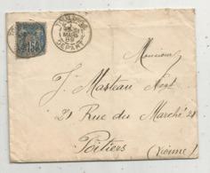 Lettre ,1889 , TOULOUSE DEPART , POITIERS VIENNE ,3 Scans - 1877-1920: Période Semi Moderne