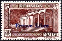 Réunion N° 215 ** Vue -> Musée Léon Dierx à Saint Denis Le 20f Brun-rouge, Surchargé France Libre - Reunion Island (1852-1975)