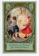 CHROMO Au Bon Marché Sirven Le Retour Des Cloches Les Oeufs De Pâques Enfants Art Nouveau - Au Bon Marché