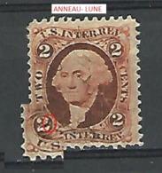 VARIÉTÉS 1862 WASHINGTON U.S.INTER.REV. 2 TWO ORANGE MARRON  OBLITÉRÉ - 1861-65 Etats Confédérés