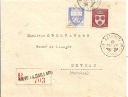 Lettre Recommandée Brive La Gaillarde   A Meynac 1942 - Marcofilie (Brieven)
