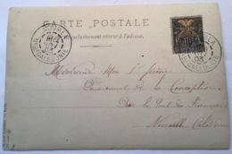 """Nouvelle Calédonie 1903 SURCH. """"CINQUANTENAIRE"""" RR ! Cp STÉ NIKEL THIO(type Groupe Lettre Bird Oiseau Gold Or Photo 72A - Neukaledonien"""