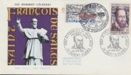 19 / 9 / 442   ENVELOPPE  1er  Jour  ( 24 / 6 / 1967  )  ST. FRANÇOIS  DE  SALES-   HOMME  CÉLÈBRE - Avec Timbre - Stamp's Day