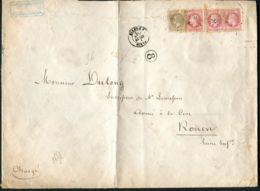 FRANCE : BELLE  ENVELOPPE  AVEC  3  N° 32  ET 1 N°30 , C A D  DU  26  JUIN 1874 ? , A  VOIR . - Postmark Collection (Covers)