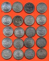 Lot De 20 Monnaies De 1 Franç Semeuse Argent Années 1912 à 1919 - 100 Grammes D'argent - Lot N° 1 - France