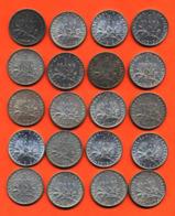 Lot De 20 Monnaies De 1 Franç Semeuse Argent Années 1912 à 1920 - 100 Grammes D'argent - Lot N° 2 - France