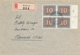 Schweiz - 1945 - 10c In 4-block On R-cover From Ramsen To Reinach - Briefe U. Dokumente