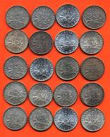 Lot De 20 Monnaies De 1 Franç Semeuse Argent Années 1911 à 1919 - 100 Grammes D'argent - Lot N°3 - France