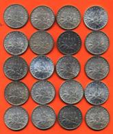 Lot De 20 Monnaies De 1 Franç Semeuse Argent Années 1913 à 1920 - 100 Grammes D'argent - Lot N° 4 - France