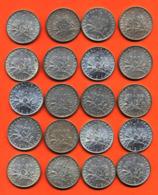 Lot De 20 Monnaies De 1 Franç Semeuse Argent Années 1913 à 1919 - 100 Grammes D'argent - Lot N° 5 - France