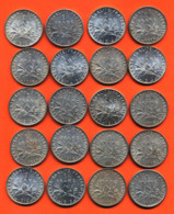 Lot De 20 Monnaies De 1 Franç Semeuse Argent Années 1913 à 1919 - 100 Grammes D'argent - Lot N° 6 - France