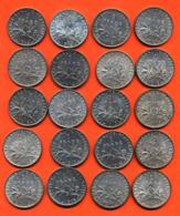 Lot De 20 Monnaies De 1 Franç Semeuse Argent Années 1914 à 1919 - 100 Grammes D'argent - Lot N° 7 - France