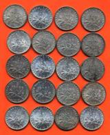 Lot De 20 Monnaies De 1 Franç Semeuse Argent Années 1913 à 1919 - 100 Grammes D'argent - Lot N° 8 - France