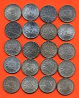 Lot De 20 Monnaies De 1 Franç Semeuse Argent Années 1912 à 1919 - 100 Grammes D'argent - Lot N° 9 - France