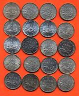 Lot De 20 Monnaies De 1 Franç Semeuse Argent Années 1914 à 1919 - 100 Grammes D'argent - Lot N°10 - France