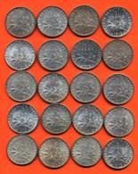 Lot De 20 Monnaies De 1 Franç Semeuse Argent Années 1912 à 1919 - 100 Grammes D'argent - Lot N°11 - France