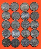 Lot De 20 Monnaies De 1 Franç Semeuse Argent Années 1912 à 1919 - 100 Grammes D'argent - Lot N°12 - France