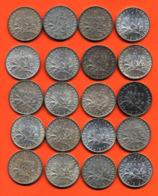 Lot De 20 Monnaies De 1 Franç Semeuse Argent Années 1912 à 1919 - 100 Grammes D'argent - Lot N°13 - France