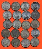 Lot De 20 Monnaies De 1 Franç Semeuse Argent Années 1913 à 1919 - 100 Grammes D'argent - Lot N°14 - France