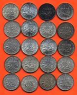 Lot De 20 Monnaies De 1 Franç Semeuse Argent Années 1913 à 1919 - 100 Grammes D'argent - Lot N°15 - France