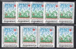 Z720 - YUGOSLAVIA 1986 , Beneficienza La Serie 131/139(2380A)  Pro Croce Rossa - Bienfaisance