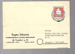 EINZELFRANKIIERUNG Bonifatius Eugen Schanne Tierische Rohprodukte Frankfurt 1954 > Dongen Holland (683) - Briefe U. Dokumente