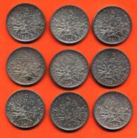 Lot De 9 Monnaies De 5 Françs Semeuse Argent Années 1960 à 1964 - 108 Grammes D'argent - Lot N°19 - France