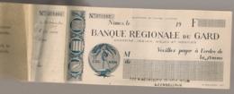 1929 CARNET DE CHEQUE / BANQUE REGIONALE DU GARD E18 - Cheques En Traveller's Cheques