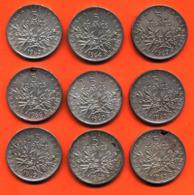 Lot De 9 Monnaies De 5 Françs Semeuse Argent Années 1960 à 1966 - 108 Grammes D'argent - Lot N°20 - France