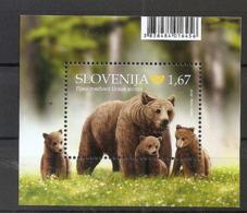 SLOVENIA  2019,FAUNA,BROWN BEER,BRUNBAR,BLOCK,MNH - Bären