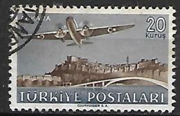 TURQUIE   -   Poste Aérienne    -  1949.   Y&T N° 13 Oblitéré .  Avion  DC-3. - 1921-... República